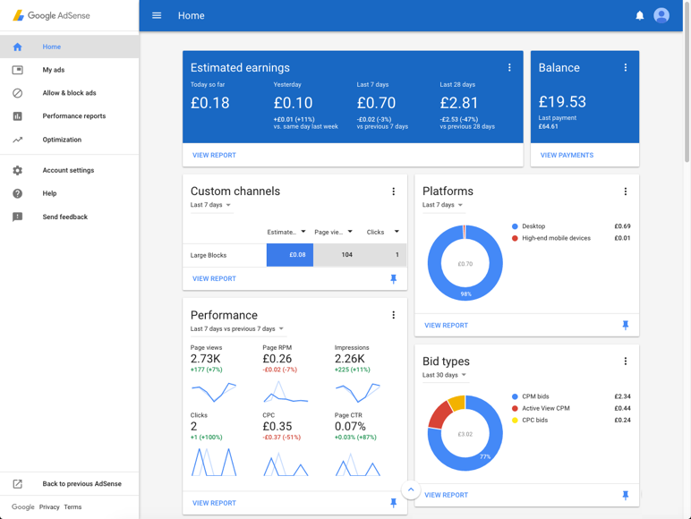 Screenshot of the new beta version of AdSense in Material Design