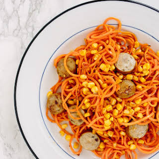 Sweet Potato Pasta with Chicken Sausage and Corn.