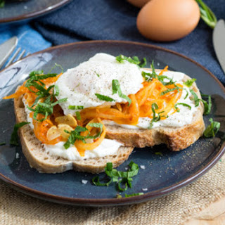 Harissa Onion and Poached Egg Toast