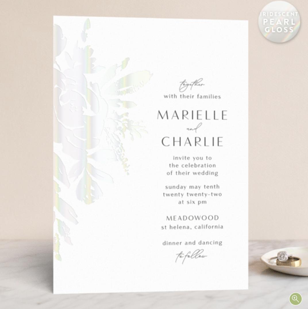gloss pressed wedding invitation
