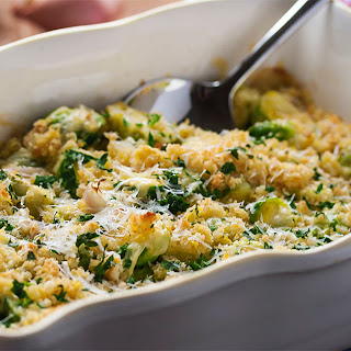 Easy Brussels Sprout and Shallot Gratin