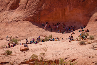 Photo: A few people hanging out in the shade, while others are still climbing up the ladder.