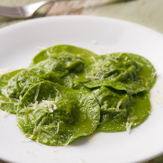 Nettle Ravioli in Nettle Pasta.