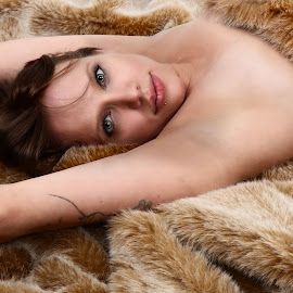 Megan in the fur by Len Lambert - People Portraits of Women ( lips, gorgeous, sexy, hot, eyes,  )