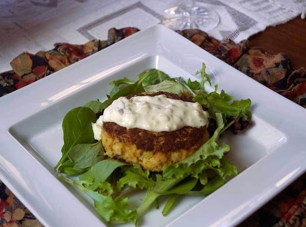 Serve warm on a bed of Spring greens and garnish with some tarter sauce....