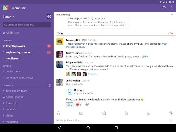 Screenshot 5 for Slack's Android app'