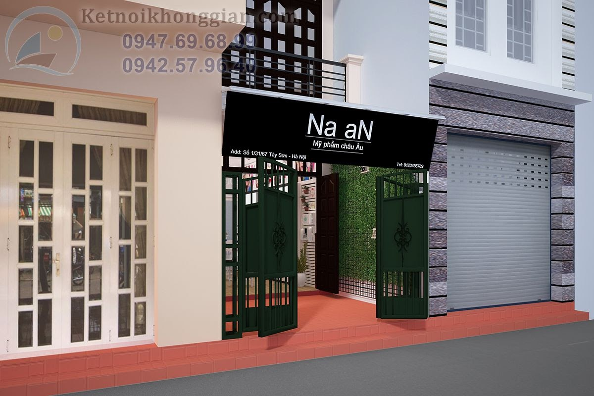 thiết kế shop mỹ phẩm 20m2