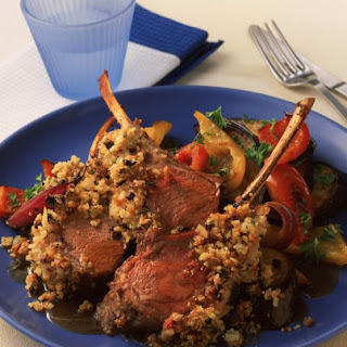 Herb Crusted Lamb with Roasted Vegetables.