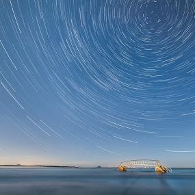 It All Revolves Around You... by Nigel Hepplewhite - Landscapes Starscapes ( scotland, astro, le, stars, dunbar, tide, longexposure, startrails, blastrock )