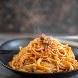 Veggie Packed Instant Pot Spaghetti with Meat Sauce.