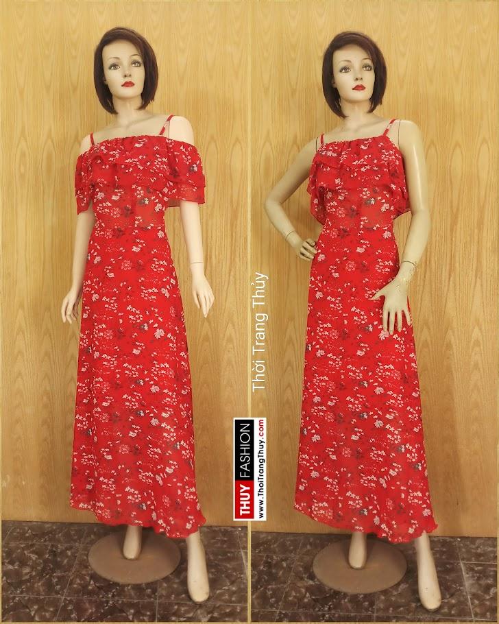 Váy Maxi hai dây hở vai hoa nhí màu đỏ V688 shop thời trang hải phòng