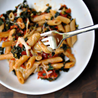 Penne with Slow Roasted Tomatoes, Kale and Mozzarella