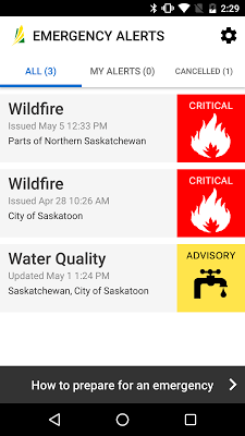 Saskatchewan Emergency Alert - screenshot