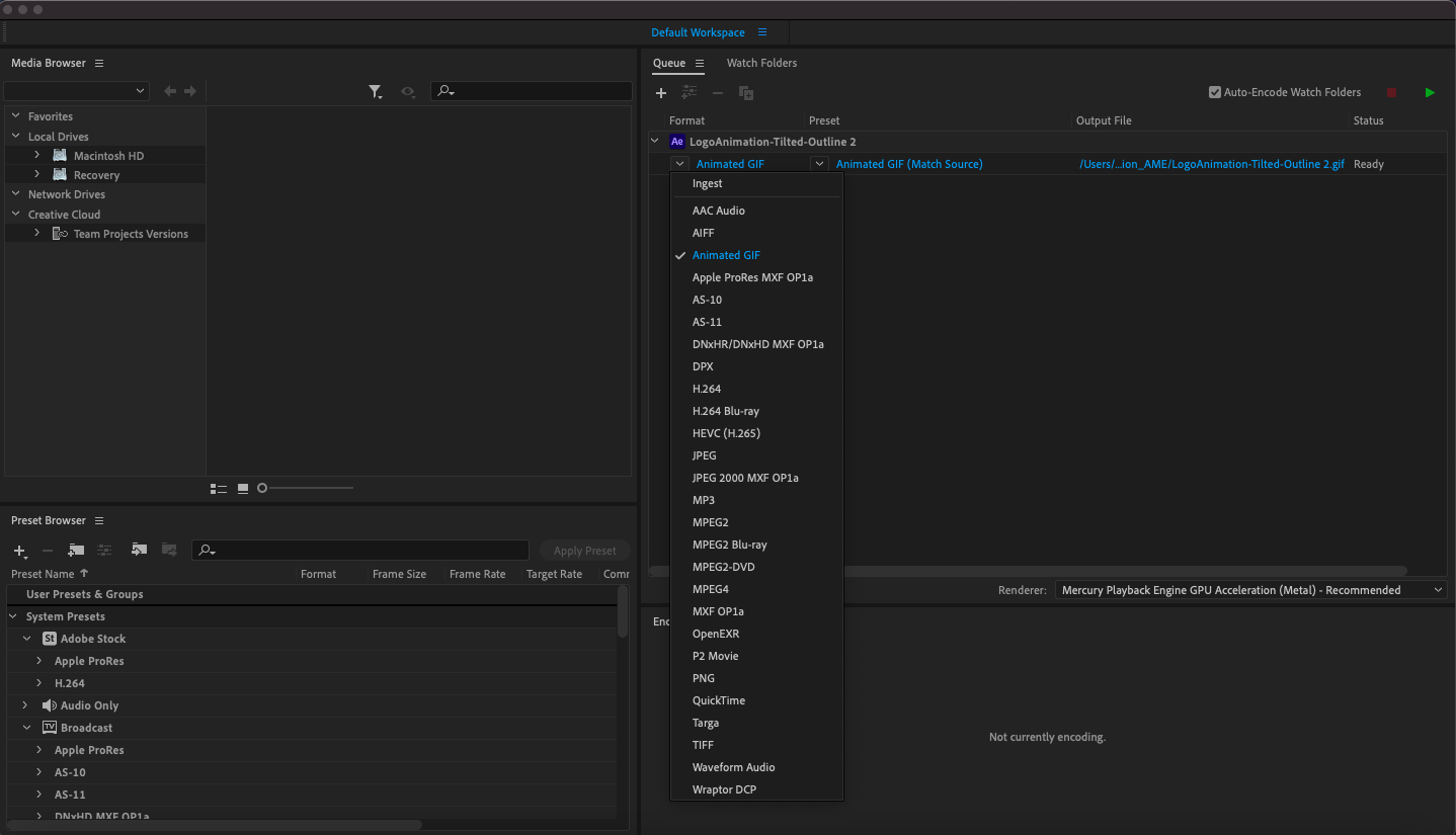Screenshot of the Adobe Media Encoder