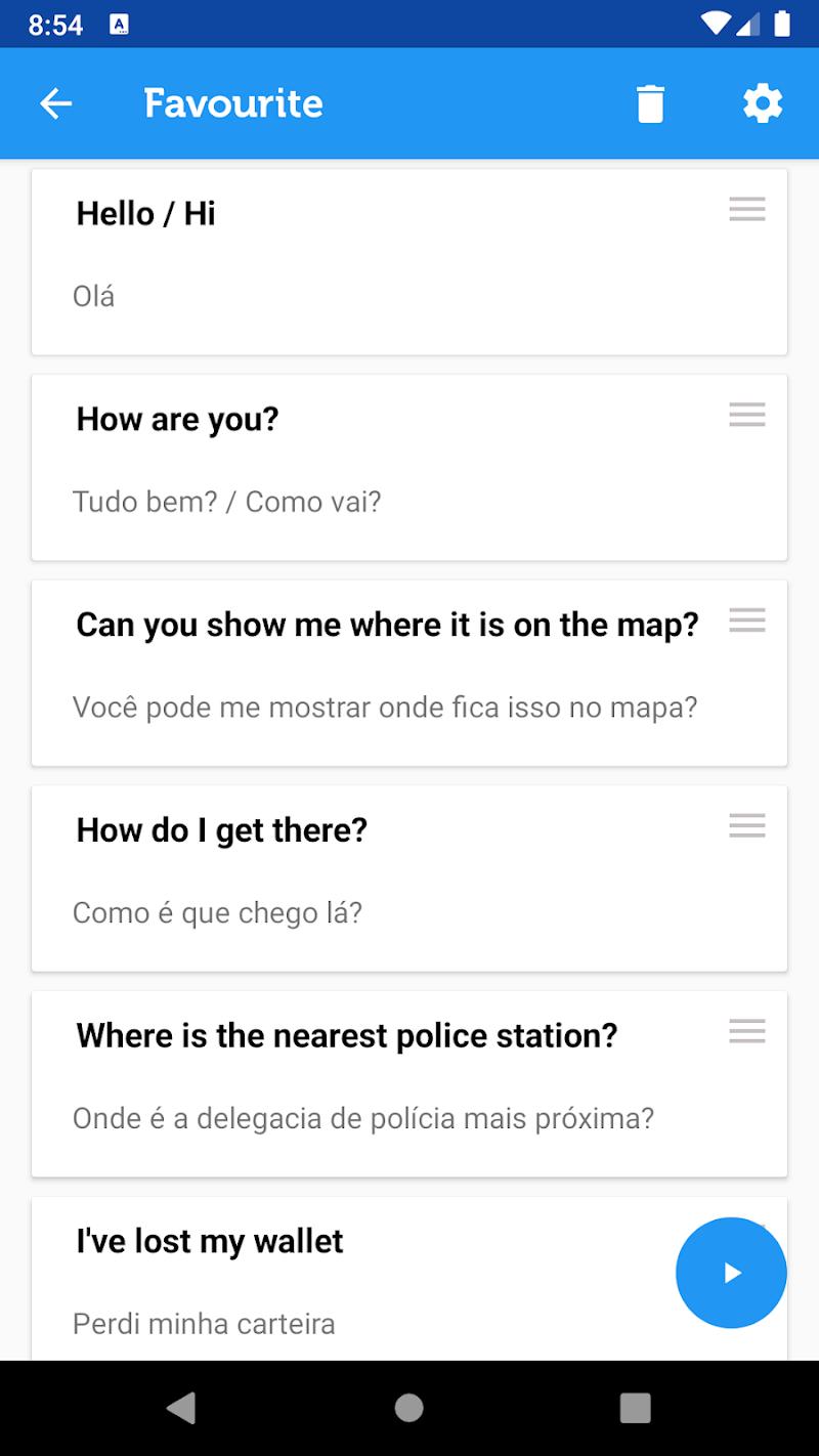 Скриншот Learn Brazilian Phrasebook