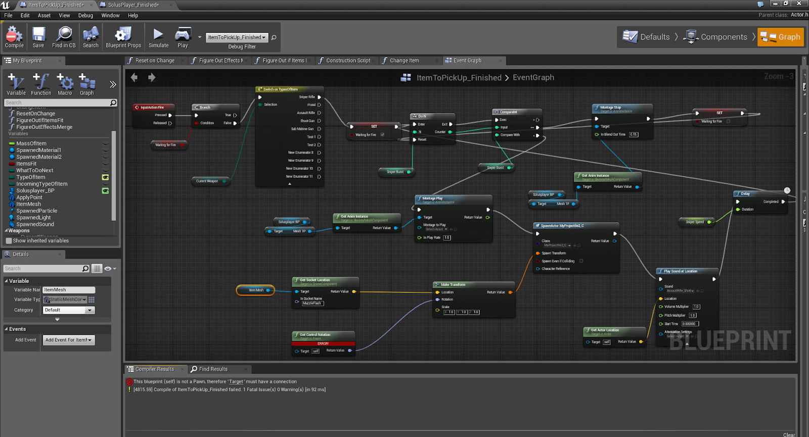 Creating game logic in Unreal Engine Blueprints