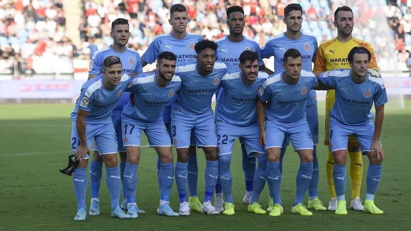 El Girona en su partido contra el Almería en el Mediterráneo.