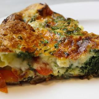 Cheesy Tomato Spinach Potato Frittata