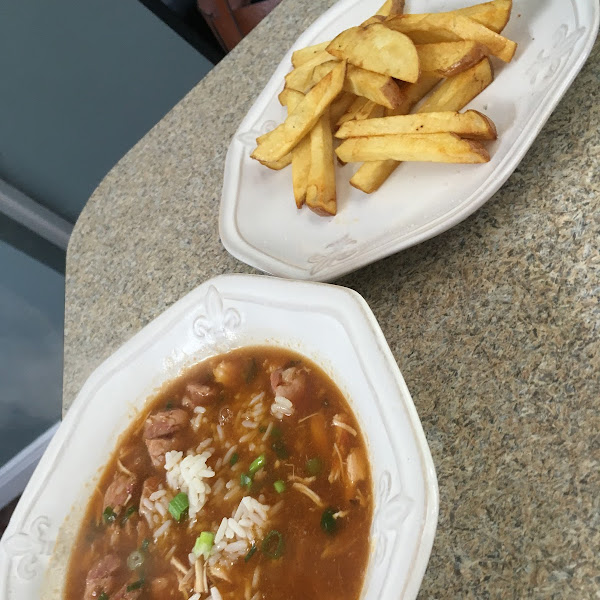 Chicken gumbo and fries