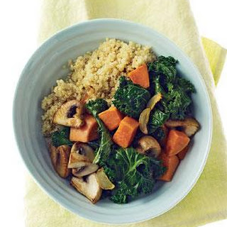 Quinoa With Mushrooms, Kale, and Sweet Potatoes.