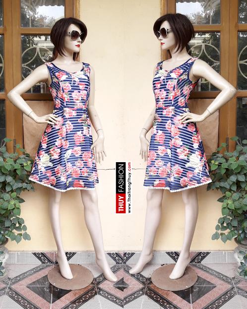 Váy xòe họa tiết hoa và kẻ ngang V315 Thời Trang Thủy