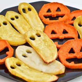 Roasted Sweet Potato Jack-o-Lantern Faces and Ghosts.