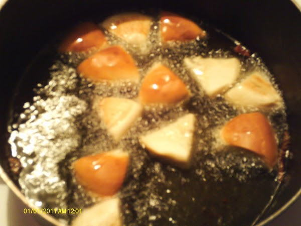 lay in cooking oil. I use stove, but you can use a deep fryer