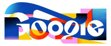 La palabra 'Google' en letras de molde blancas, rodeada de figuras amarillas, azules, rosas y rojas.