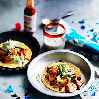 Popcorn Chicken Tacos With Blue Cheese-buttermilk Dressing.