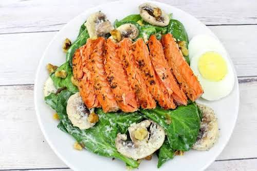 Spinach Salad With Pan Seared Salmon Not all lucky foods are loaded...