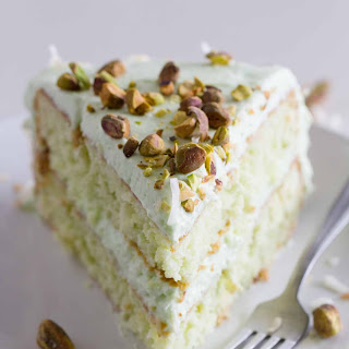 Coconut and Pistachio Pudding Cake.