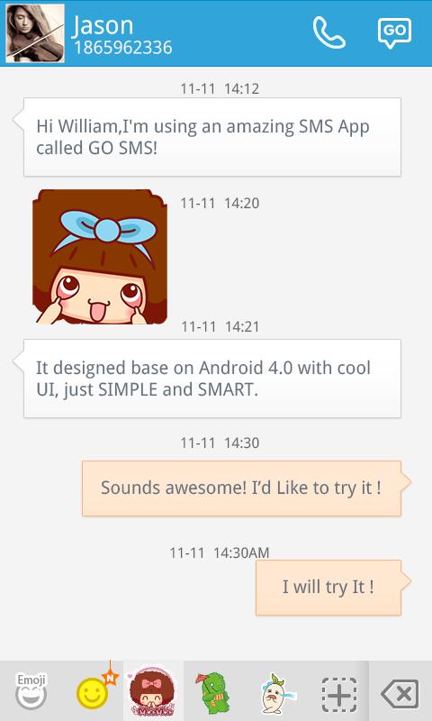 Скриншот GO SMS CUTEMOC STICKER
