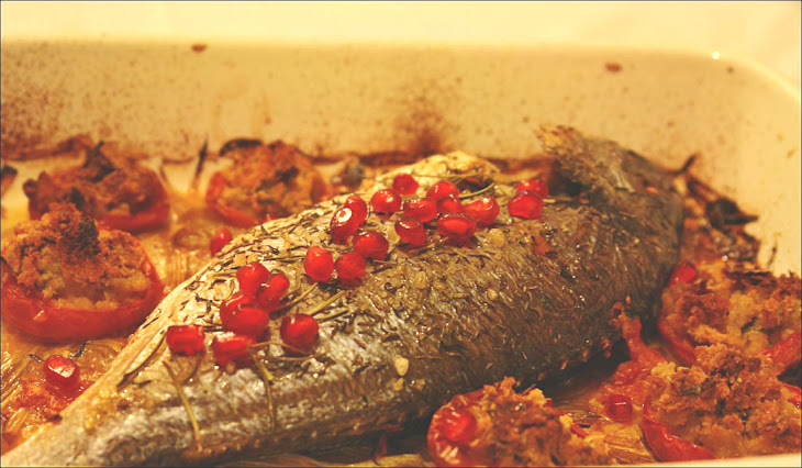 Gilt-Head Bream in the Oven with Stuffed Tomatoes and Pomegranate Recipe