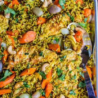 Sheet Pan Curry Chicken and Carrots with Basmati Rice (Biryani) Recipe