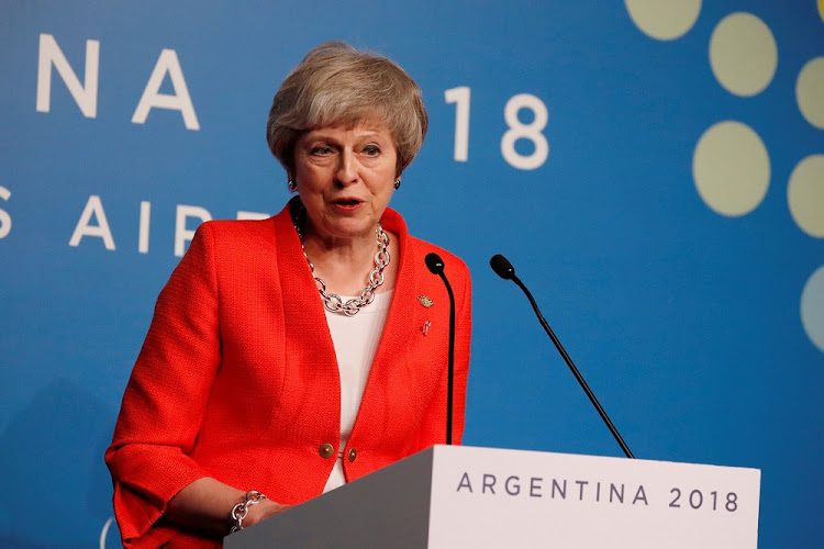 Britain's Prime Minister Theresa May addresses the media during the G20 Summit in Buenos Aires, Argentina, December 1 2018. Picture: REUTERS/CARLOS GARCIA RAWLINS