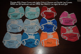 Photo: Thirsties PUL Diaper Covers with Aplix (Velcro) Closures and Double Leg Gussets. NINE size XS (newborn) and two PINK Size SMALL (on right) $6 each