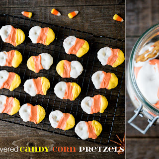 White Chocolate Covered Candy Corn Pretzels