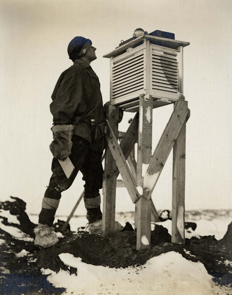 Photo: Dr Wilson watching the Sunshine Recorder receiving the first rays of the season, 26 August 1911. Image courtesy of the Royal Geographical Society.