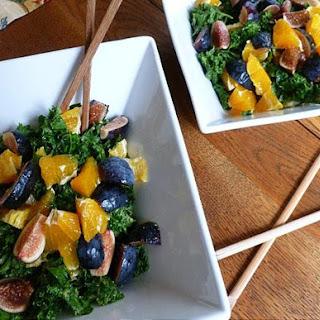 Raw Massaged Kale Salad with Fresh Figs and Oranges [Vegan].