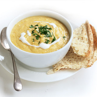 Sweet Corn Soup With Parmesan Toasts