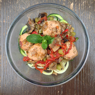 Turkey Meatballs with Mushrooms and Mint Zoodles