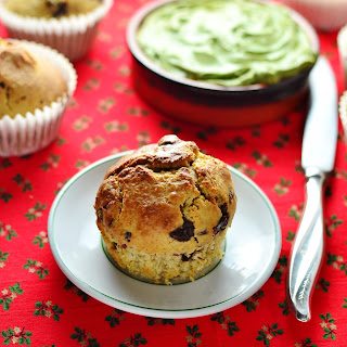 Cranberry Chocolate Muffins With Matcha Spread