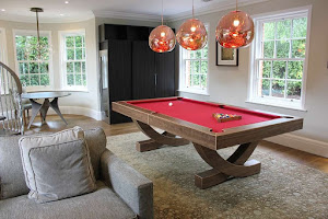 Walnut American Pool Table with Red Cloth