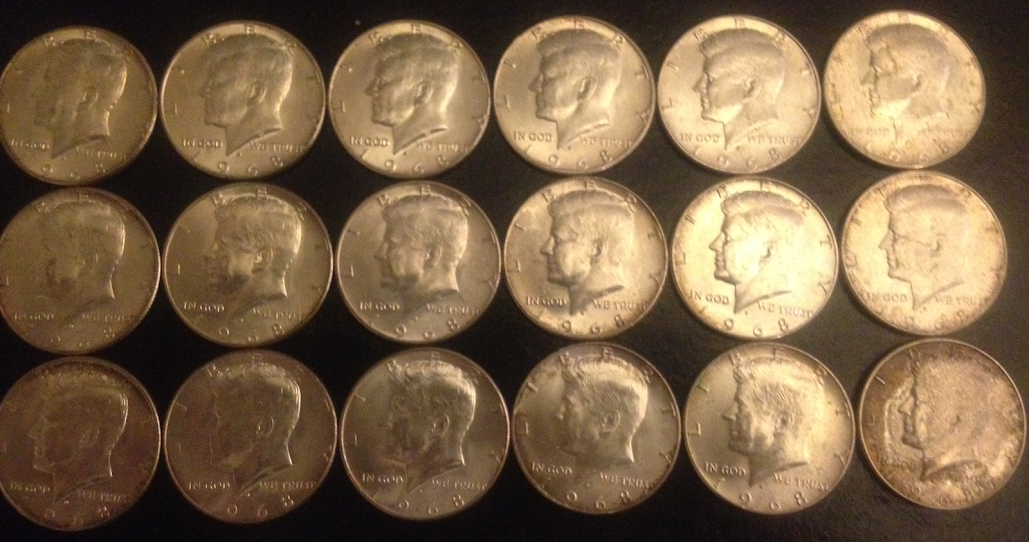 1968D 40% Silver Half Dollars Free Transaction From the Bank! CRH Coin Roll Hunting Find