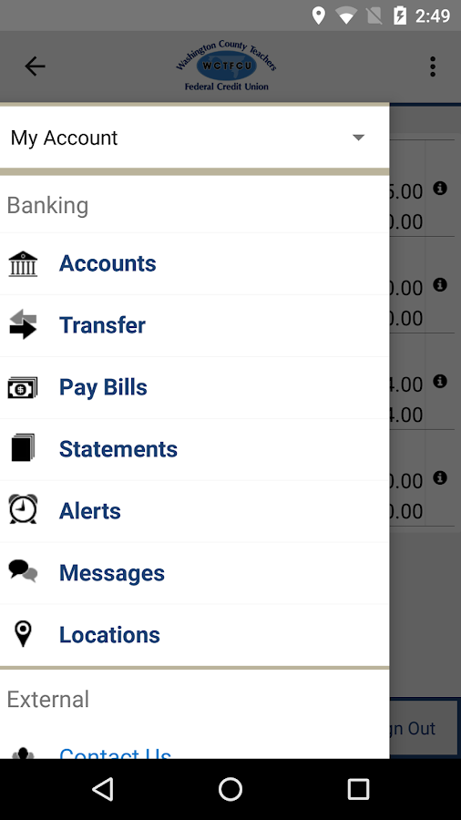 WCTFCU Mobile Banking- screenshot