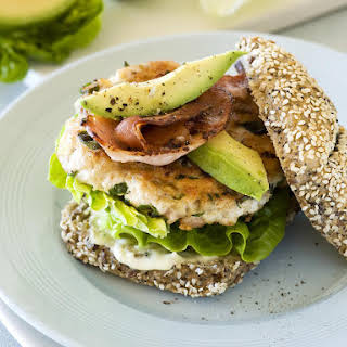Chicken Burger with Avocado, Bacon and Garlic Mayo.