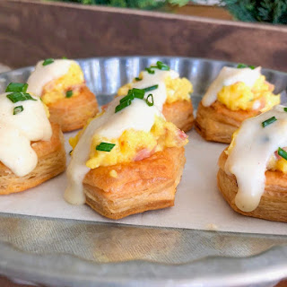 Puff Pastry Breakfast Cups With Honey Dijon Sauce.