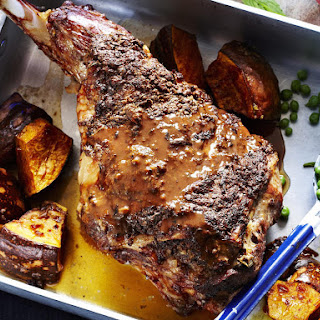 Roast Lamb Leg with Red Wine Gravy.