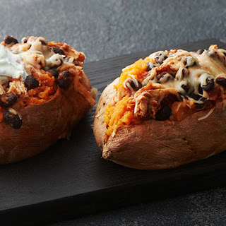 Microwave Stuffed Sweet Potatoes with Chicken and Black Beans.