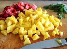 In a medium size bowl place all your diced, chopped, sliced, and minced ingredients....